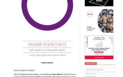 Munari Politecnico, artribune.com, 14.01.2017